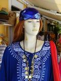Shop Mannequin Wearing Greek Style Dress Stock Photo