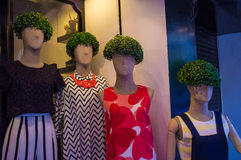 Shop Mannequins With Privet Hedge Wigs Royalty Free Stock Photos