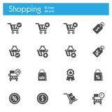 Shop, Market, Storeflat gray icons set of 16 royalty free illustration