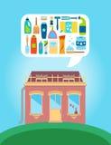 Shop mit Sammlung verschiedenen Körperpflegeversorgungen Stockbild