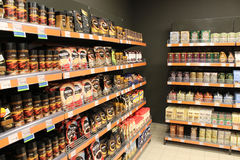 Shop mit vielen verschiedenen Arten Kaffee Lizenzfreies Stockfoto