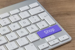 Shop on modern Keyboard Royalty Free Stock Photos