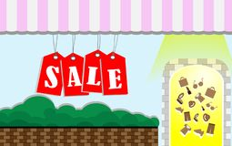 Shop for more discounted goods, with the sale sign red.Banner Vector.Can be used to make stickers, business cards, shop, or other. Shop for more discounted goods stock illustration