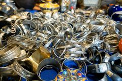 Shop of Moroccan handicraft items. In a market royalty free stock photography