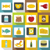 Shop navigation foods icons set, flat style Royalty Free Stock Images
