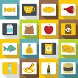 Shop navigation foods icons set, flat style. Shop navigation foods icons set. Flat illustration of 16 shop navigation foods vector icons for web vector illustration