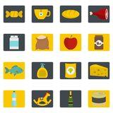 Shop navigation foods icons set in flat style Stock Photos