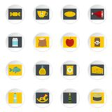 Shop navigation foods icons set in flat style Stock Images