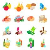 Shop navigation foods icons set, isometric style. Shop navigation foods icons set. Isometric illustration of 16 shop navigation foods vector icons for web vector illustration