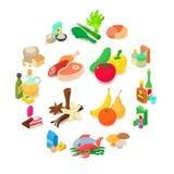 Shop navigation foods icons set, isometric style. Shop navigation foods icons set. Isometric illustration of 16 shop navigation foods vector icons for web stock illustration