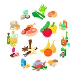 Shop navigation foods icons set, isometric style. Shop navigation foods icons set. Isometric illustration of 16 shop navigation foods icons for web vector illustration