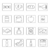 Shop navigation foods icons set, outline style Royalty Free Stock Images
