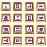 Shop navigation foods icons set purple Stock Images