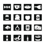 Shop navigation foods icons set, simple style. Shop navigation foods icons set. Simple illustration of 16 shop navigation foods vector icons for web royalty free illustration