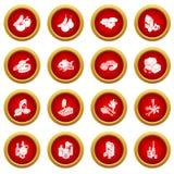 Shop navigation foods icons set, simple style. Shop navigation foods icons set. Simple illustration of 16 shop navigation foods vector icons for web stock illustration