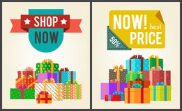 Shop Now Best Hot Price Promo Labels Ribbons Stars. Shop now best hot price promo labels with ribbons and stars on vector banner with piles of gift boxes in Stock Photos