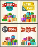 Shop Now Best Hot Price Promo Labels Ribbons Stars. Shop now best hot price promo labels with ribbons and stars on vector banner set with piles of gift boxes in Stock Photo
