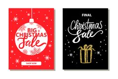 Shop Now Big Christmas Sale Vector Illustration. Shop now, big christmas sale, promotional banners of red and black colors with icons of ball that is also a Stock Image