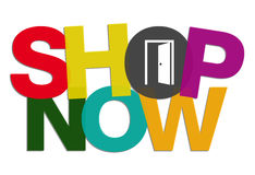 Shop Now Button with Door Open concept Stock Photography