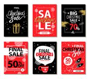 Shop Now on Christmas Set Vector Illustration. Shop now on Christmas holiday, set of promotional banners including titles icons of present and cup, mittens and Stock Images