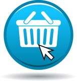 Shopping cart cyan blue round button. Shop now cyan blue round color button on white background - vector illustration Stock Images