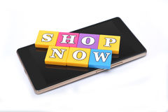 Shop Now 3D button on smartphone Stock Image