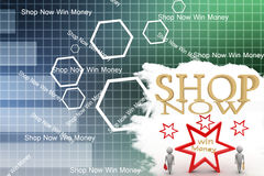 Shop now with 3d shopping people Illustration Royalty Free Stock Photography