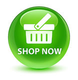 Shop now glassy green round button Royalty Free Stock Image