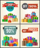 Shop Now Hot Price 90 Half Discount Promo Labels. Shop now hot prices 90 half discount off promo labels on advertisement posters with heaps of present gift boxes vector illustration