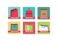 Shop now icon set Stock Photography