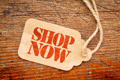Shop now - price tag sign Stock Images