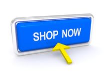 Shop now. Sign board with white uppercase text reading 'shop now' on blue background  with yellow arrow pointing to the sign, white background Royalty Free Stock Photography