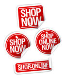 Shop now stickers set. Stock Image