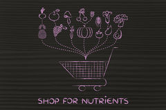 Shop for nutrients, healthy food shopping Stock Photo
