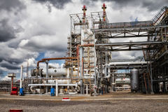 Shop oil refinery. The unit of heat exchangers and columns for chemical reprocessing of crude oil Royalty Free Stock Photo