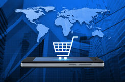 , Shop online concept, Elements of this image furnished by NASA. Shopping cart icon on modern smart phone screen over map and city tower background, Shop online Royalty Free Stock Image