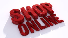 Shop online. 3d text sign Royalty Free Stock Image