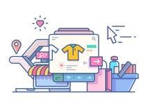 Shop online design flat. Web mobile e-commerce, technology marketing, vector illustration Stock Photos