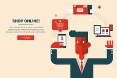 Shop online e-commerce concept Stock Images