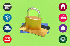 Shop Online with encrypted Secure gateway Stock Photo