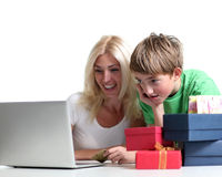 Shop online. Mother and son shop online Stock Image