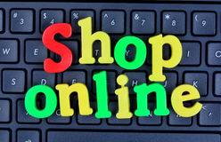 Shop online words on computer keyboard Royalty Free Stock Images