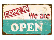 Shop Open Enamel Sign. Come in we are open rusty old enamel sign Stock Image