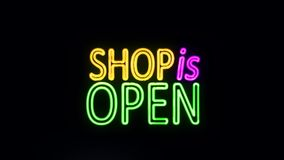 Shop is Open Sign in Neon Style Turning On
