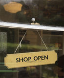 Shop open sign in window Stock Photo