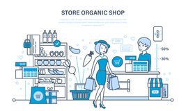 Shop organic products, counter with products, ordering and purchasing goods. Girl with purchases, cashier selling the goods. Illustration thin line design of Royalty Free Stock Photos
