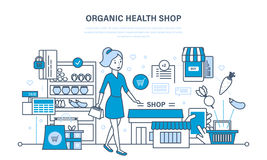 Shop organic products, counter with products, ordering and purchasing goods. Illustration thin line design of vector doodles, infographics elements Stock Image