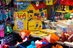 Shop with Pippi souvenirs - the famous little girl from Astrid Lindgren books in Stockholm, Sweden Royalty Free Stock Image