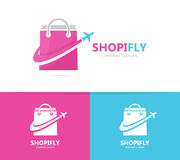 Shop and plane logo combination. Sale and travel symbol or icon. Unique bag and flight logotype design template. Royalty Free Stock Image