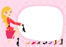 Shop of pretty girl footwear Royalty Free Stock Image